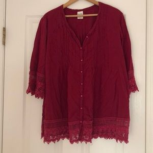 Blair Burgundy lace and button down Top XL
